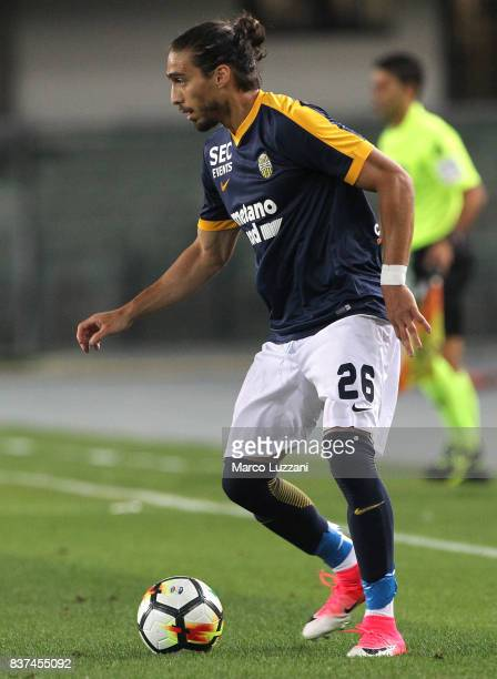 Martin Caceres of Hellas Verona in action during the Serie A match between Hellas Verona and SSC Napoli at Stadio Marcantonio Bentegodi on August 19...