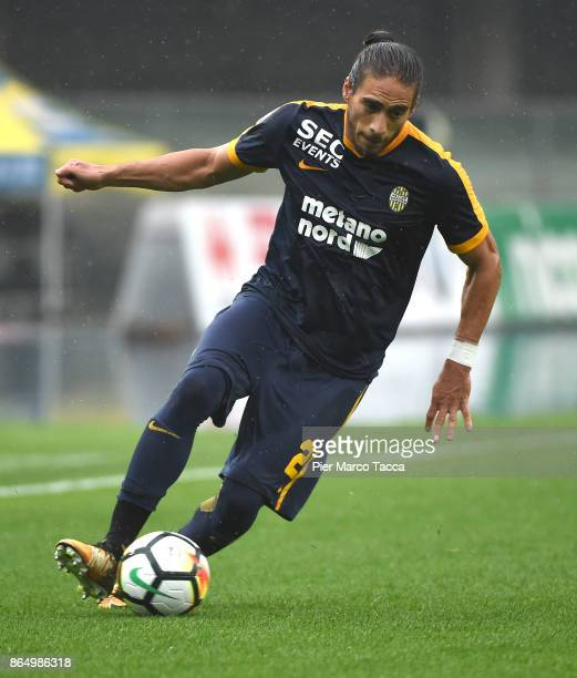 Martin Caceres of Hellas Verona in action during the Serie A match between AC Chievo Verona and Hellas Verona FC at Stadio Marc'Antonio Bentegodi on...