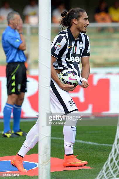 Martin Caceres of Juventus celebrates after scoring his opening goal during the Serie A match between AC Chievo Verona and Juventus FC at Stadio...