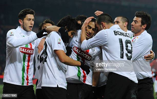 Martin Caceres of Juventus FC celebrates with his teammates after scoring the second goal during the Tim Cup match between AC Milan and Juventus FC...