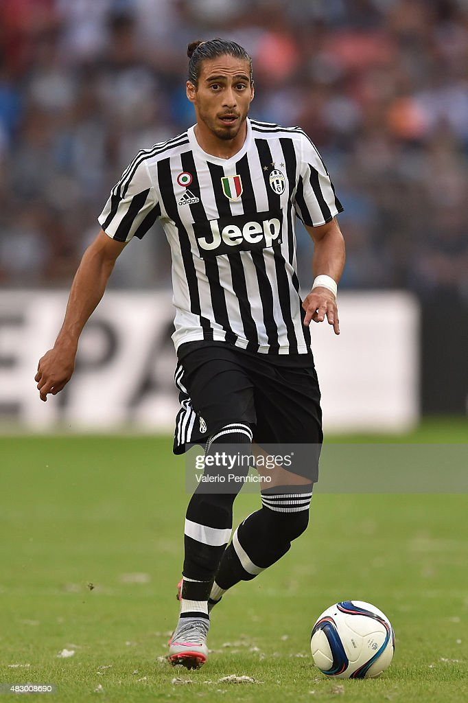 Martin Caceres of Juventus FC in action during the preseason friendly match between Olympique de Marseille and Juventus FC at Stade Velodrome on August 1, 2015 in Marseille, France.