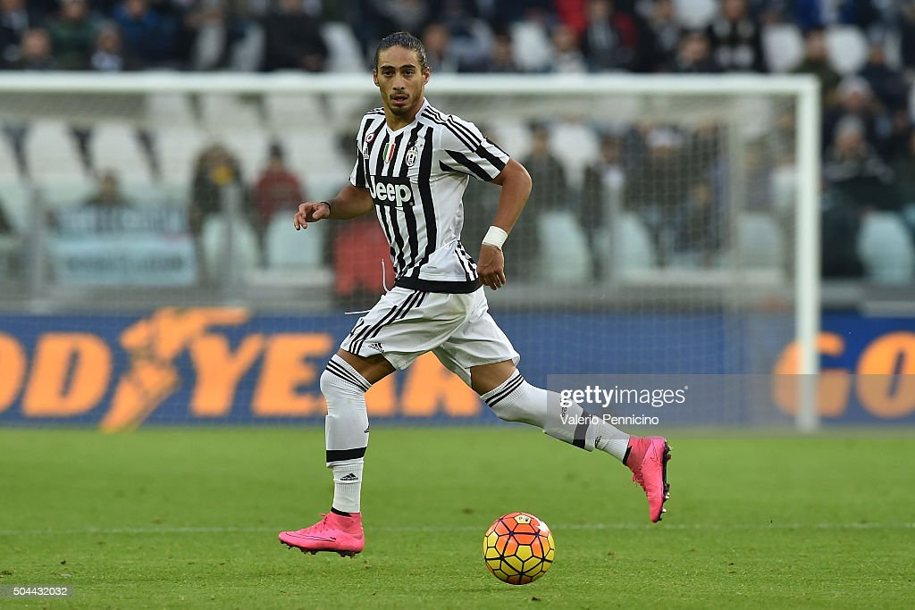 Martin Caceres of Juventus FC in action during the Serie A match between Juventus FC and Hellas Verona FC at Juventus Arena on January 6 2016 in...
