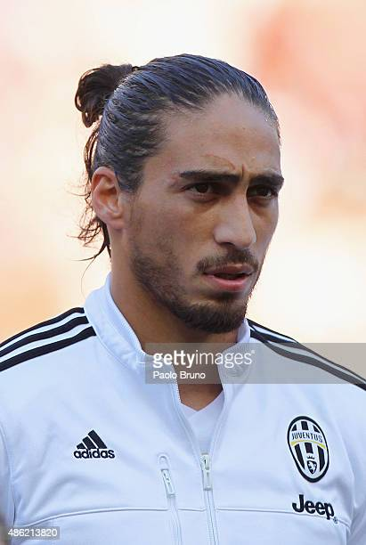 Martin Caceres of Juventus FC looks on during the Serie A match between AS Roma and Juventus FC at Stadio Olimpico on August 30 2015 in Rome Italy