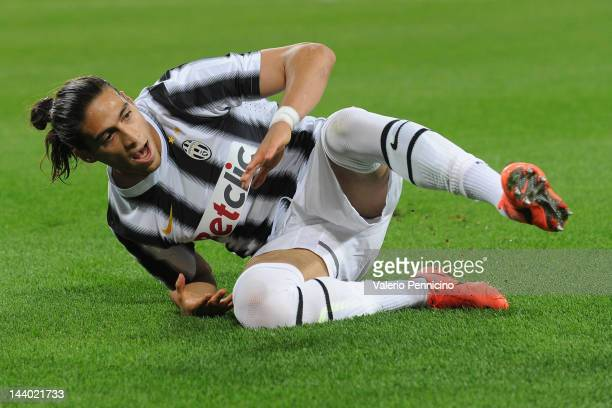 Martin Caceres of Juventus FC looks on during the Serie A match between Juventus FC and US Lecce at Juventus Arena on May 2 2012 in Turin Italy
