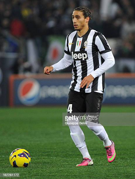 Martin Caceres of Juventus in action during the Serie A match between AS Roma and Juventus FC at Stadio Olimpico on February 16 2013 in Rome Italy