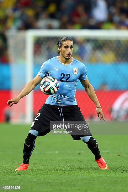 Martin Caceres of Uruguay controls the ball during the 2014 FIFA World Cup Brazil Group D match between Uruguay and England at Arena de Sao Paulo on...