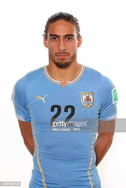Martin Caceres of Uruguay poses during the official FIFA World Cup 2014 portrait session on June 10 2014 in Belo Horizonte Brazil