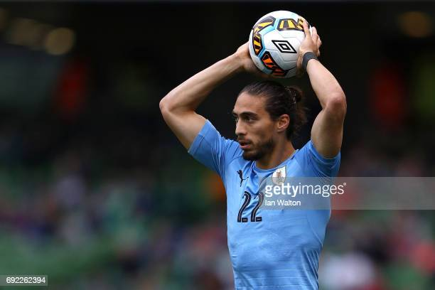 Martin Caceres of Uruguay prepares to take a throw in during the International Friendly match between Republic of Ireland and Uruguay at Aviva...