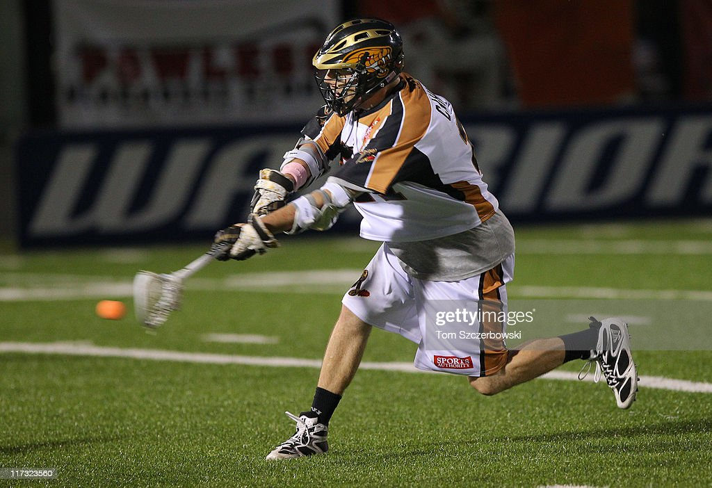 Martin Cahill of the Rochester Rattlers shoots during Major League Lacrosse game action against the Hamilton Nationals on June 25 2011 at Ron Joyce...
