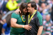 Martin Castrogiovanni is consoled by teammate Marcos Ayerza after playing his last match for Leicester during the Aviva Premiership Final between...