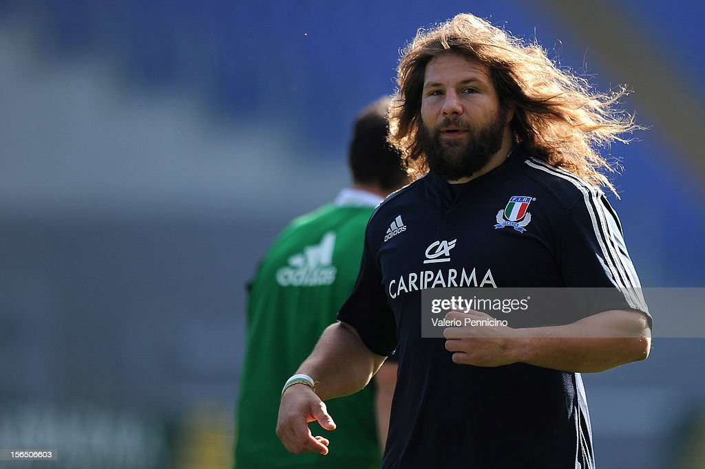 <a gi-track='captionPersonalityLinkClicked' href=/galleries/search?phrase=Martin+Castrogiovanni&family=editorial&specificpeople=802311 ng-click='$event.stopPropagation()'>Martin Castrogiovanni</a> of Italy looks on during a training session at Stadio Olimpico on November 16, 2012 in Rome, Italy.