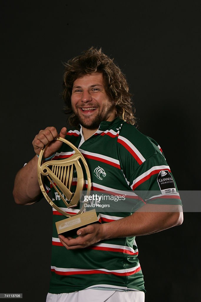 Martin Castrogiovanni of Leicester Tigers poses with the Player of the Season trophy at Oval Park on May 3 2007 in Oadby near Leicester England...