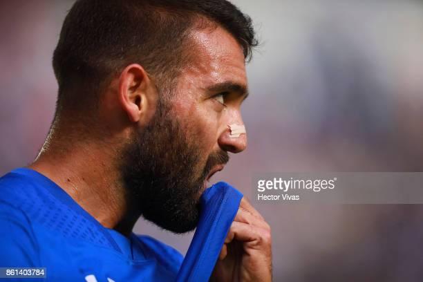 Martin Cauteruccio of Cruz Azul reacts during the 13th round match between Cruz Azul and America as part of the Torneo Apertura 2017 Liga MX at Azul...