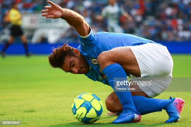 Martin Cauteruccio of Cruz Azul slides to control the ball during the 5th round match between Cruz Azul and Queretaro as part of the Torneo Clausura...