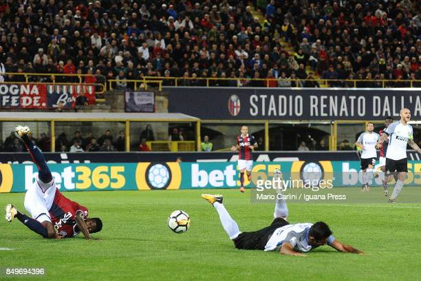 Martin Citadin Eder of FC Internazionale is fouled into the penalty area during the Serie A match between Bologna FC and FC Internazionale at Stadio...