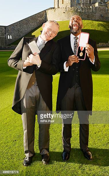 Martin Clunes after receiving an Officer of the Order of the British Empire and Sir Lenny Henry who received a Knighthood from Queen Elizabeth II...