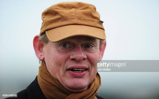 Martin Clunes looks on ahead of The Exeter Racecourse Clydesdale Stakes at Exeter Racecourse on November 23 2014 in Exeter England