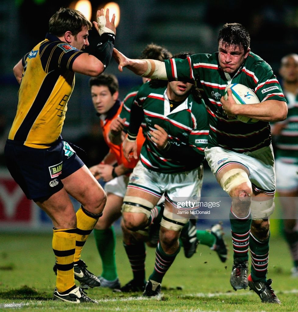 heineken cup asm clermont auvergne v leicester tigers photos and martin corry of leicester holds off elvis vermeulen of clermont auvergne during the heineken cup pool