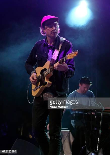 Martin Courtney of Real Estate performs at the Gobi Tent during day 3 of the 2017 Coachella Valley Music Arts Festival at the Empire Polo Club on...