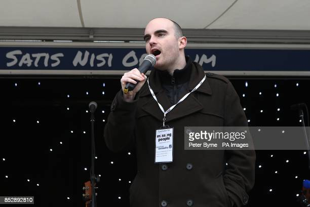 Martin Crosby from the missing people charity on stage in the Everton Fanzone before the match