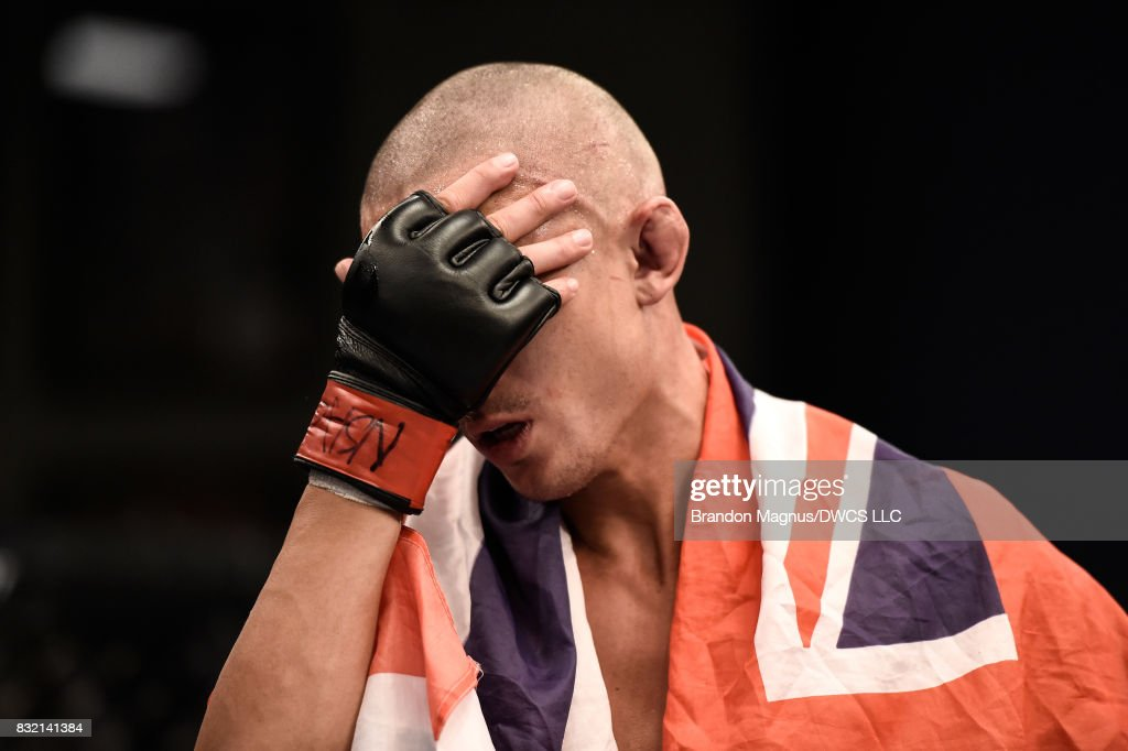 Martin Day reacts to his loss to Jaime Alvarez in their flyweight bout during Dana White's Tuesday Night Contender Series at the TUF Gym on August 15, 2017 in Las Vegas, Nevada.