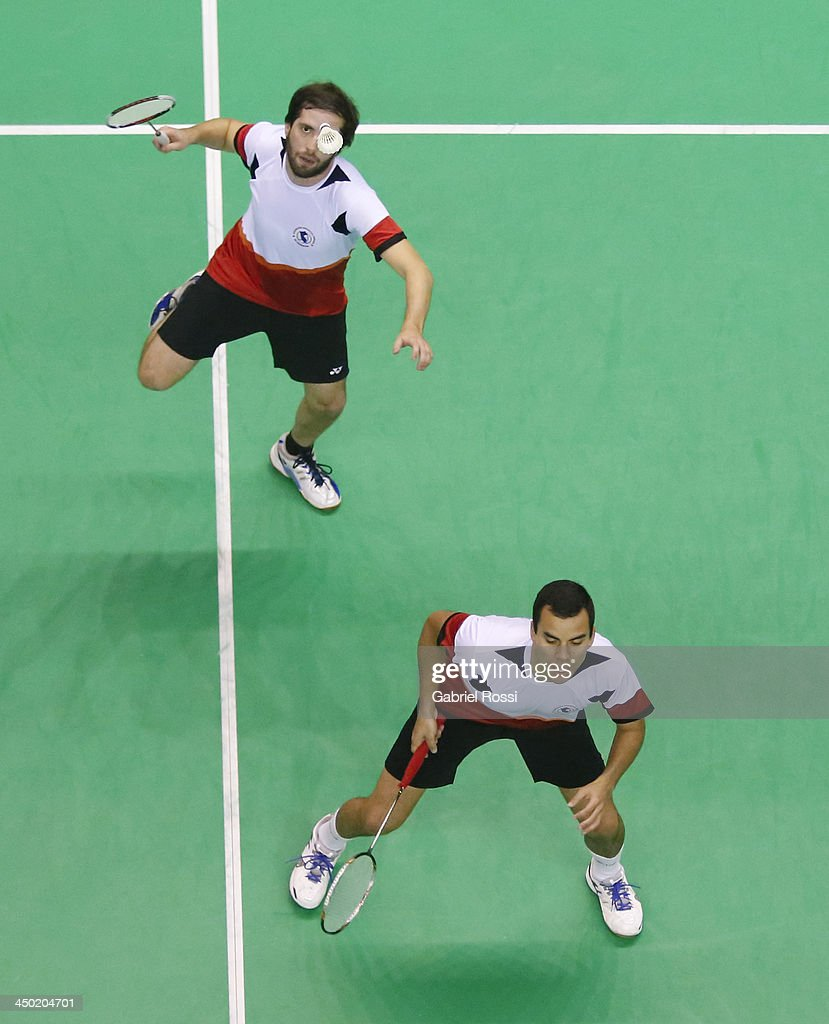 Martin Del Valle of Peru makes a shot during the Badminton Men's Doubles Qualifiers as part of the XVII Bolivarian Games Trujillo 2013 at Coliseo Miguel Grau on November 17, 2013 in Lima, Peru.