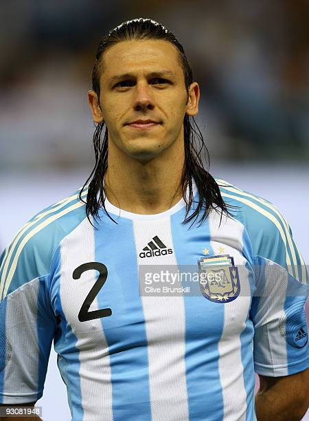 Martin Demichelis of Argentina during the friendly International football match Spain against Argentina at the Vicente Calderon stadium in Madrid on...