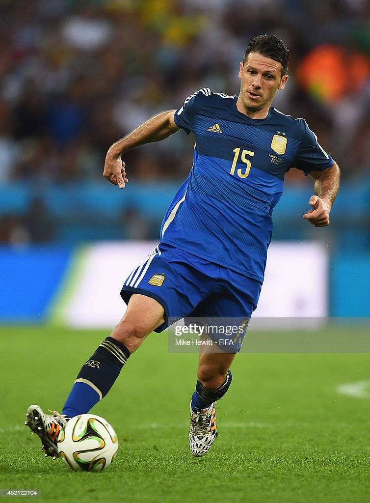 Martin Demichelis of Argentina in action during the 2014 FIFA World Cup Brazil Final match between Germany and Argentina at Maracana on July 13, 2014 in Rio de Janeiro, Brazil.