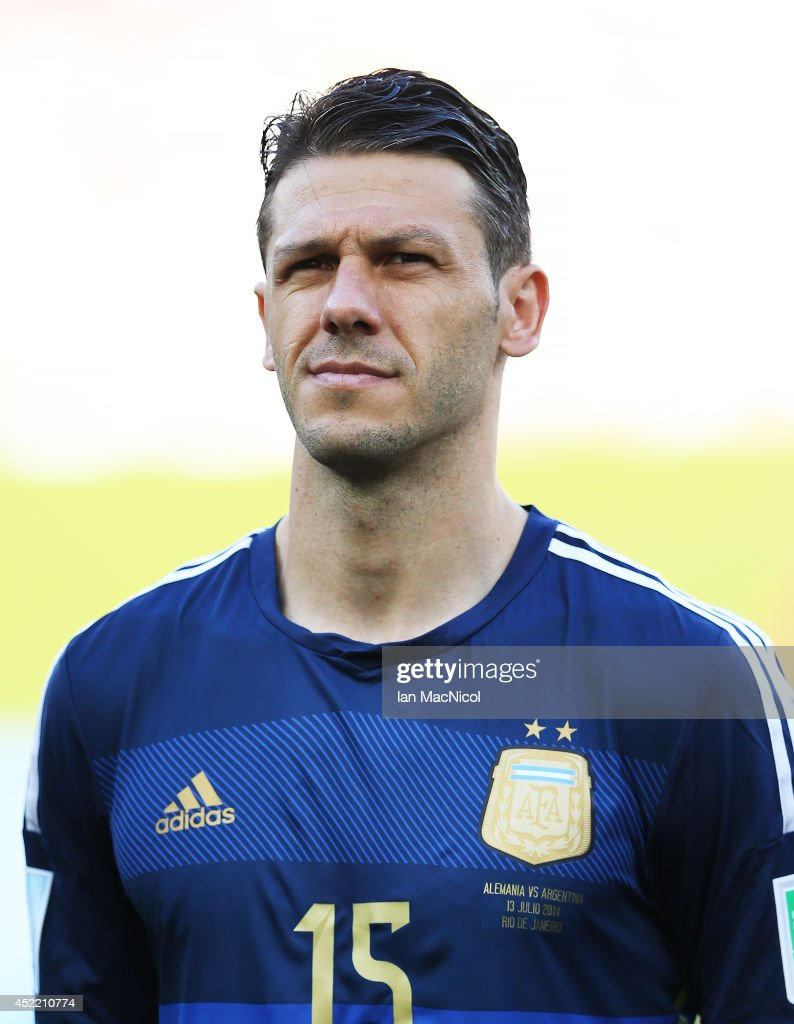 Martin Demichelis of Argentina looks on during the anthems during the 2014 World Cup final match between Germany and Argentina at The Maracana Stadium on July 13, 2014 in Rio de Janeiro, Brazil.