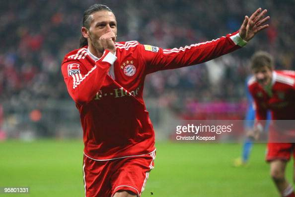 Martin Demichelis of Bayern celebrates a goal during the Bundesliga match between Bayern Muenchen and 1899 Hoffenheim at the Allianz Arena on January...