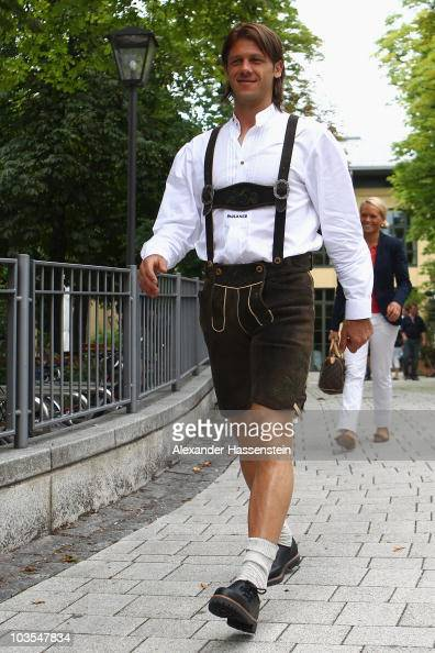 Martin Demichelis of Bayern Muenchen leaves the Nockerberg Biergarden after the Paulaner photocall at the Nockerberg Biergarden on August 23 2010 in...