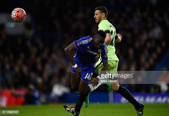 Martin Demichelis of Manchester City brings down Bertrand Traore of Chelsea to concede a penalty during The Emirates FA Cup fifth round match between...