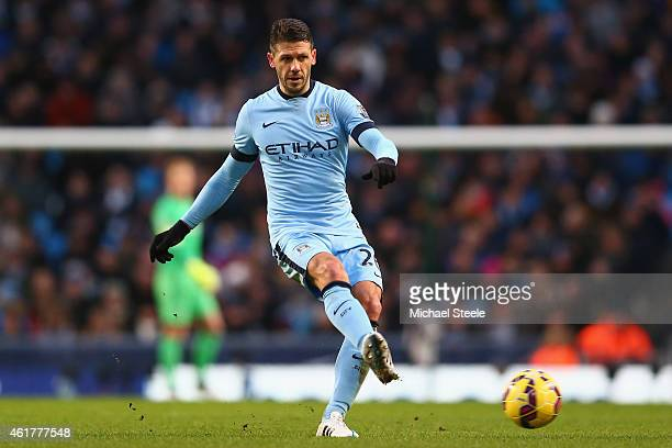 Martin Demichelis of Manchester City during the Barclays Premier League match between Manchester City and Arsenal at the Etihad Stadium on January 18...