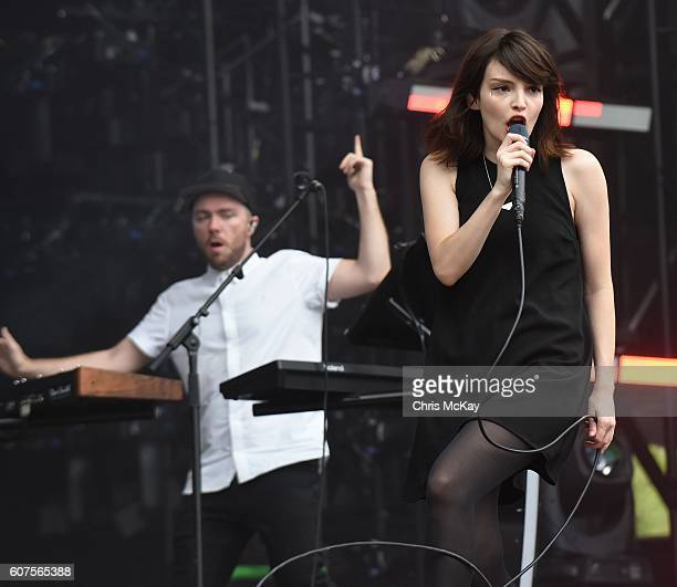 Martin Doherty and Lauren Mayberry of Chvrches perform during Music Midtown at Piedmont Park on September 17 2016 in Atlanta Georgia