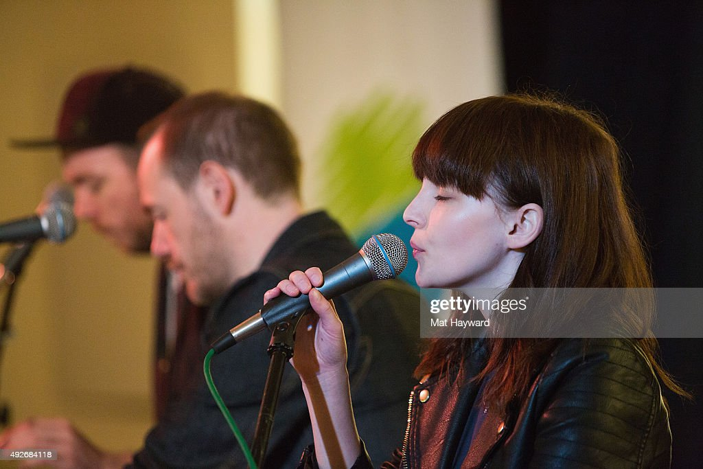 Martin Doherty, Iain Cook and Lauren Mayberry and Martin Doherty of Chvrches perform during an EndSession hosted by 107.7 The End at Fremont Abbey Arts Center on October 14, 2015 in Seattle, Washington.