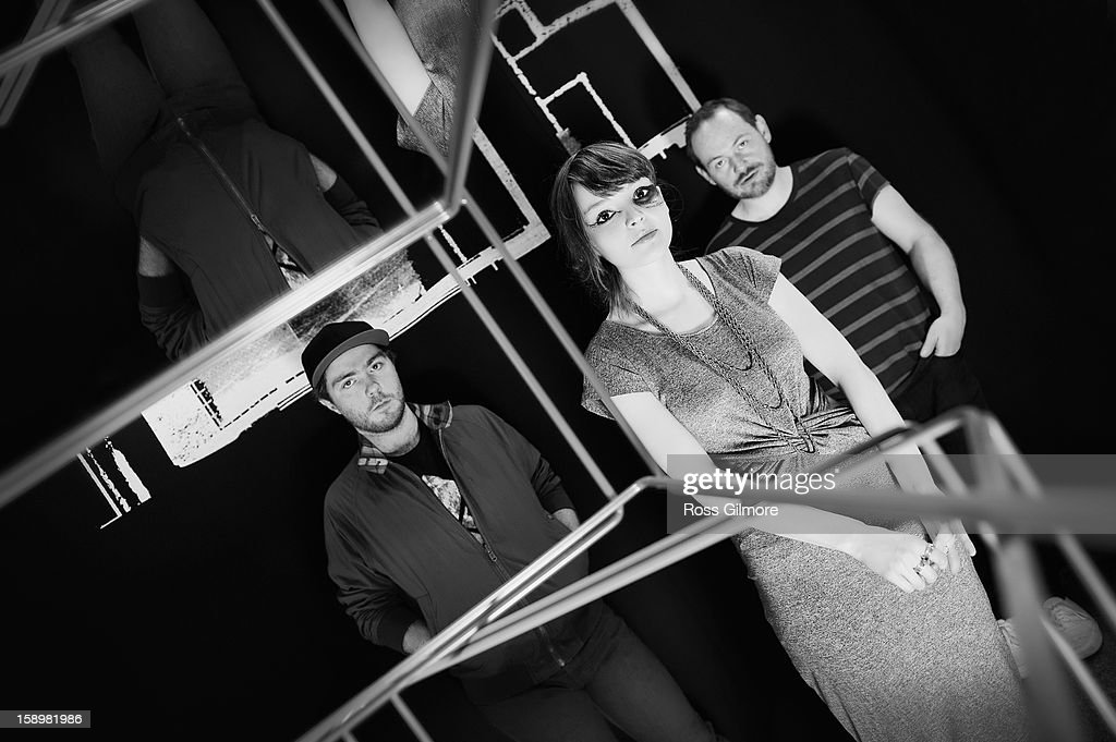Martin Doherty, Lauren Mayberry and Iain Cook of the band Chvrches pose during a portrait session at The Lighthouse on January 3, 2013 in Glasgow, United Kingdom.