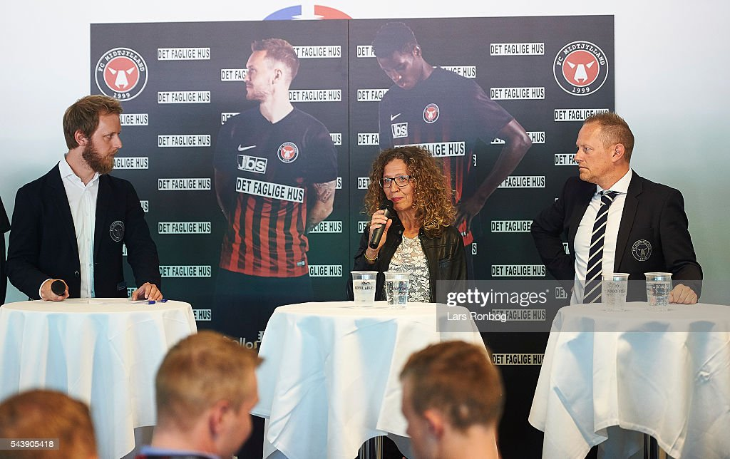 Martin Dons, head of media of FC Midtjylland, Mette Jul, head of communication of Det Faglige Hus and Jacob Jorgensen, head of marketing of FC Midtjylland present new shirt prior to the Europa League Qualifier match between FC Midtjylland and FK Suduva at MCH Arena on June 30, 2016 in Herning, Denmark.