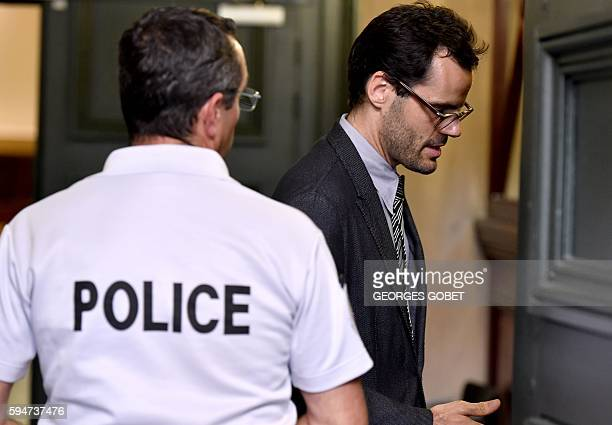 Martin d'Orgeval companion of French photographer FrancoisMarie Banier leaves after hearing the verdict of the Appeal court of Bordeaux southwestern...