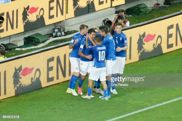 Martin Eder of Italy celebrates after scoring his team's third goal during the FIFA 2018 World Cup Qualifier between Italy and Liechtenstein at...