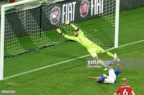 Martin Eder of Italy scores his team's third goal during the FIFA 2018 World Cup Qualifier between Italy and Liechtenstein at Stadio Friuli on June...