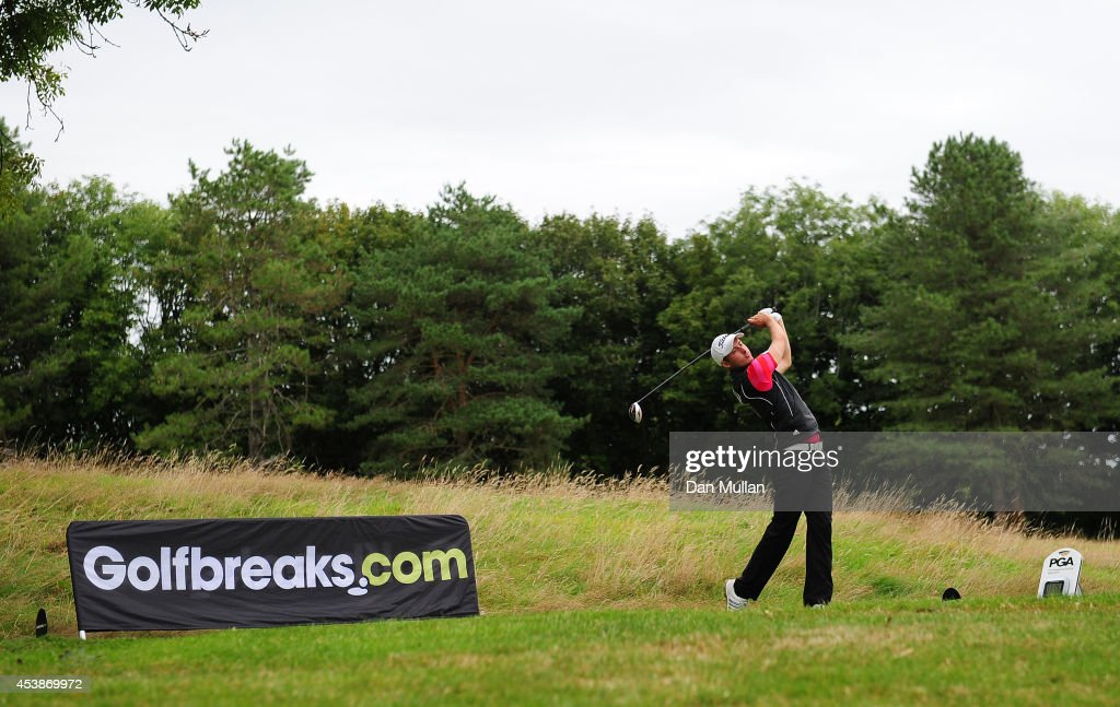 Martin Edge of Hesketh Golf Club plays a shot on the 10th hole during day one of the Golfbreaks.com PGA Fourball Championship at St. Mellion International Resort on August 20, 2014 in Saltash, England.