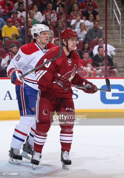 Martin Erat of the Phoenix Coyotes in action during the NHL game against the Montreal Canadiens at Jobingcom Arena on March 6 2014 in Glendale...