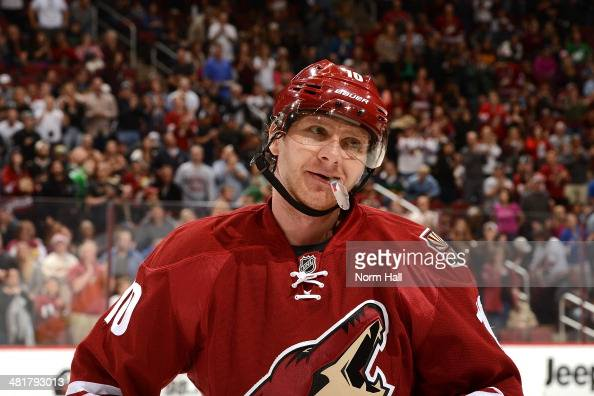 Martin Erat of the Phoenix Coyotes looks to the bench during a stop in play against the Florida Panthers at Jobingcom Arena on March 20 2014 in...