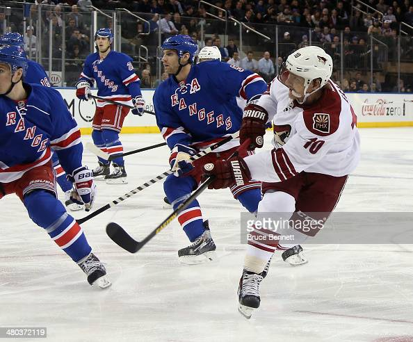 Martin Erat of the Phoenix Coyotes skates against the New York Rangers at Madison Square Garden on March 24 2014 in New York City The Rangers...