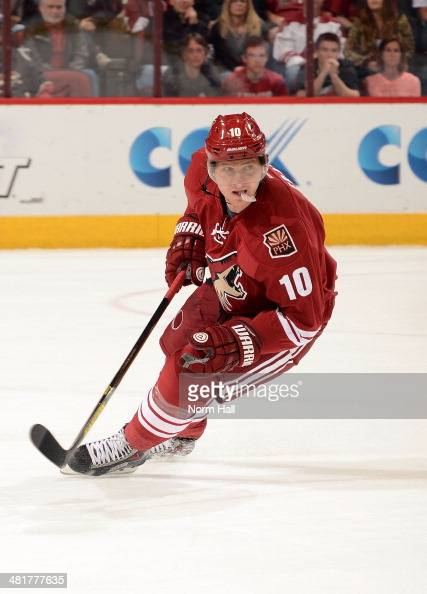 Martin Erat of the Phoenix Coyotes skates up ice against the Florida Panthers at Jobingcom Arena on March 20 2014 in Glendale Arizona