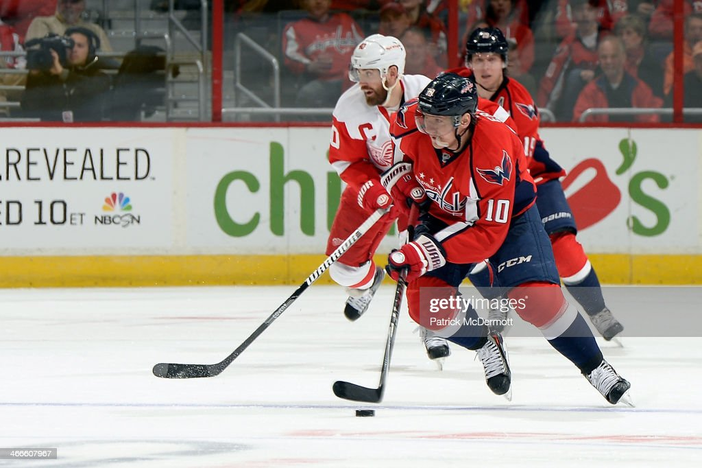 <a gi-track='captionPersonalityLinkClicked' href=/galleries/search?phrase=Martin+Erat&family=editorial&specificpeople=210561 ng-click='$event.stopPropagation()'>Martin Erat</a> #10 of the Washington Capitals brings the puck up ice in the second period during an NHL game against the Detroit Red Wings at Verizon Center on February 2, 2014 in Washington, DC.