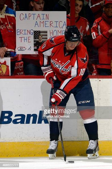 Martin Erat of the Washington Capitals warms up prior to playing an NHL game against the New Jersey Devils at Verizon Center on February 8 2014 in...