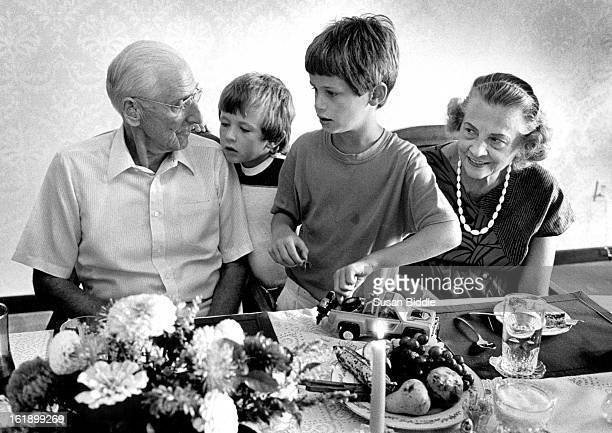 OCT 11 1987 Martin Exeter and his secretary grace van duzen are visited at lunch by Jesse Migchelbrink and James Maskell 7 This lunch is in Pavillion...