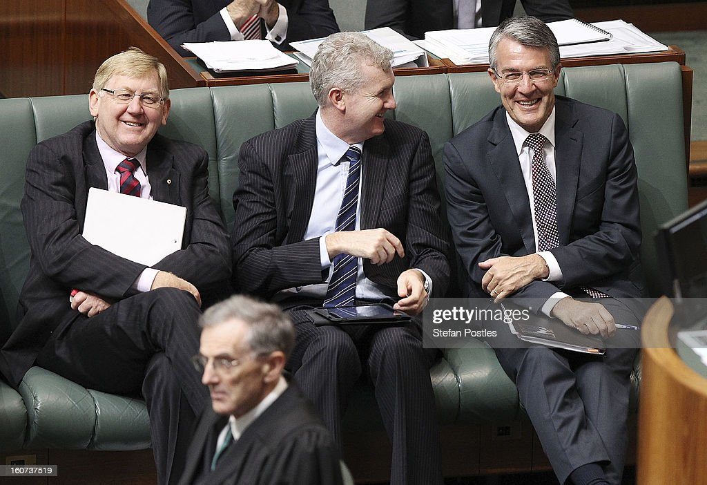 Martin Ferguson, <a gi-track='captionPersonalityLinkClicked' href=/galleries/search?phrase=Tony+Burke&family=editorial&specificpeople=1410357 ng-click='$event.stopPropagation()'>Tony Burke</a> and the new Attorney General Mark Dreyfus during House of Representatives question time at Parliament House on February 5, 2013 in Canberra, Australia. Parliament resumes for the first sitting of 2013 today, just days after Prime Minister Gillard, announced a federal election date of September 14, 2013.