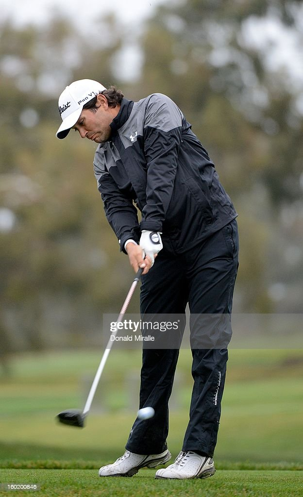 Martin Flores hits off the tee box during the Third Round at the Farmers Insurance Open at Torrey Pines South Golf Course on January 27, 2013 in La Jolla, California.